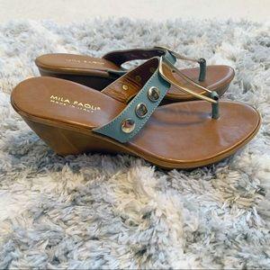 Mila Paoli Italian Leather Turquoise Wedge Sandals